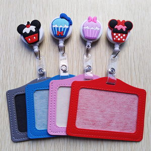 1Pcs Cute multicolor cartoon animal Retractable Badge Reel with Horizontal style PU ID Business Card Work Card Badge Holder