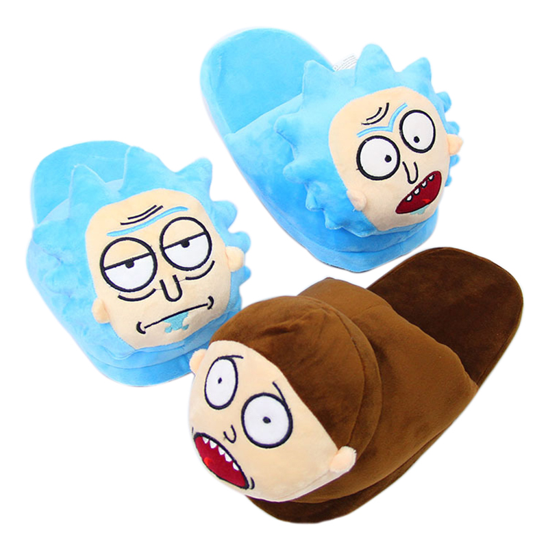 Cute Rick And Morty Plush Slippers Winter Warm Women Slippers Female Comfortable Indoor Home Shoes Unisex Slippers 35-43