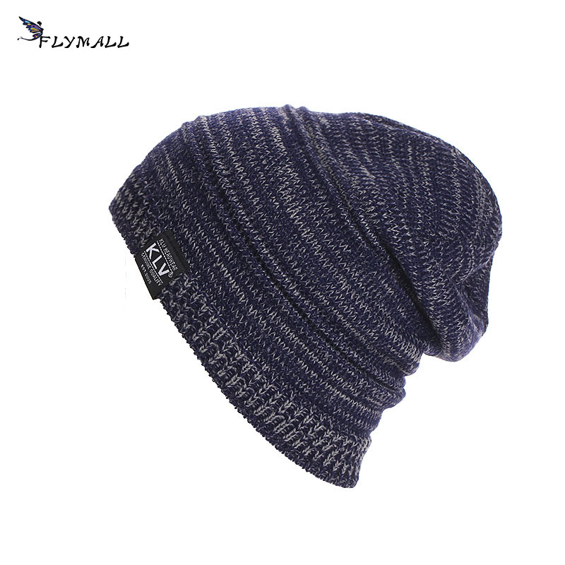 FLYMALL Winter Warm Knitted Men Hat Beanie Klv Cap Striped A Hat For a Boy Beret Men's Hats Soft Mask For The Face Pompon Gorro novelty women men winter warm black full face cover three holes mask beanie hat cap fashion accessory unisex free shipping