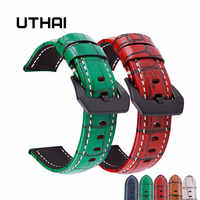 UTHAI P17 Watchbands 20mm 22mm 24mm 26mm High-end retro Calf Leather Watch band Watch Strap with Genuine Leather Straps