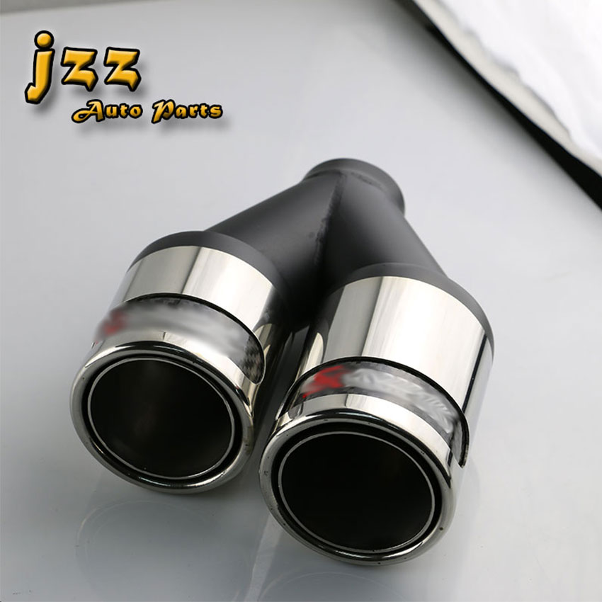 1PCS Universal Dual akrapovic car carbon fiber and stainless steel exhaust pipe silencer Stainless Steel Muffler tip tail pipe stylish stainless steel car exhaust pipe muffler tip for santana toyota mazda chery more