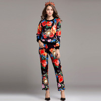 2017 New Fashion Women S Pants 2 Pieces Set High Quality Runway Sets Long Sleeve Retro