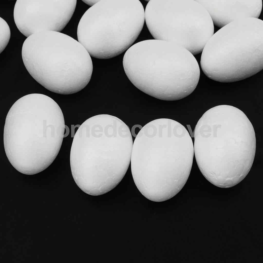 50 Uds artesanía de modelado blanco huevos de espuma de poliestireno 5cm adornos de fiesta de boda niños artesanía artesanal