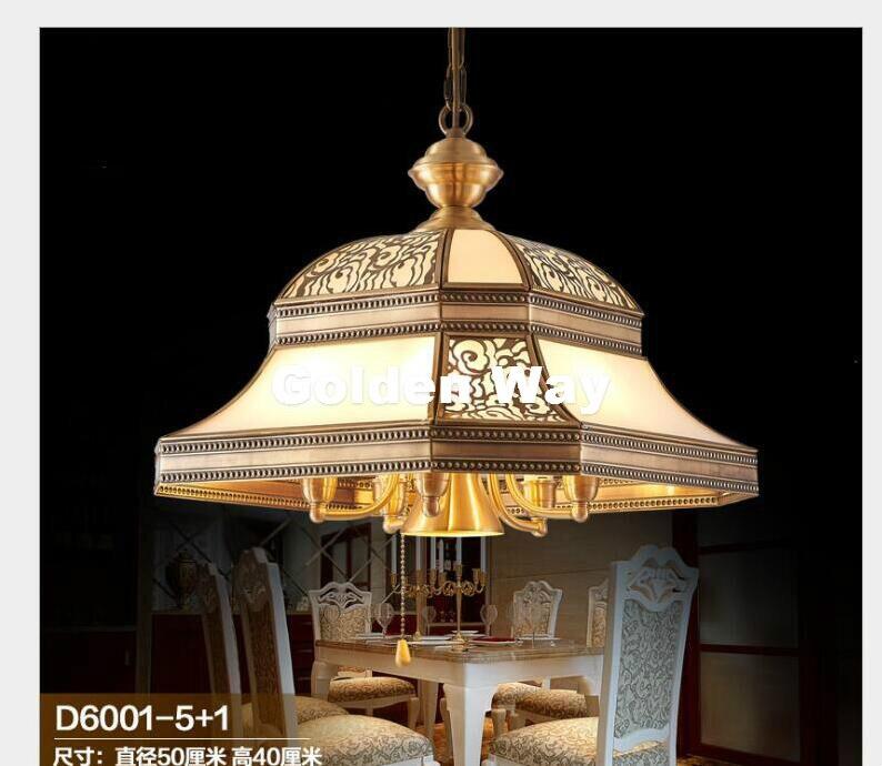 Бесплатная доставка, современная Европейская латунная подвеска, античная латунная люстра d50 см, винтажное медное стекло, LED AC110V/220 V, 100% гаран