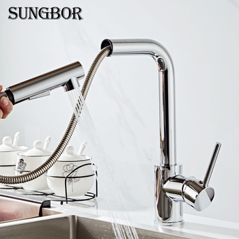 Kitchen Faucets chrome Single Handle Pull Out Kitchen Tap Single Hole Handle Swivel 360 Degree Water Mixer Tap Mixer Tap CF-9116 kitchen faucets silver single handle pull out kitchen sink tap single hole handle swivel 360 degree rotation water mixer tap