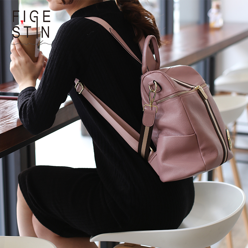 Figestin Backpack Female Genuine Leather Women Backpacks School Bag Pink Stripe Multifunctional Leather Back Pack On Shoulder #2