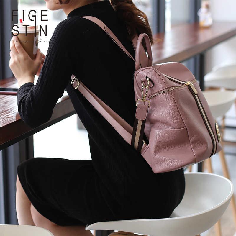 ... FIGESTIN рюкзак женский из натуральной кожи женщин рюкзаки школьные  сумки розовый полоса многофункциональный кожаный Рюкзак ... b768bbea7fc