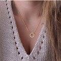 N602 Círculo Chapado En Oro Eternidad Colgantes Collares Collares Joyería Minimalista Dainty Siempre Mujeres Collar de Regalo 2017