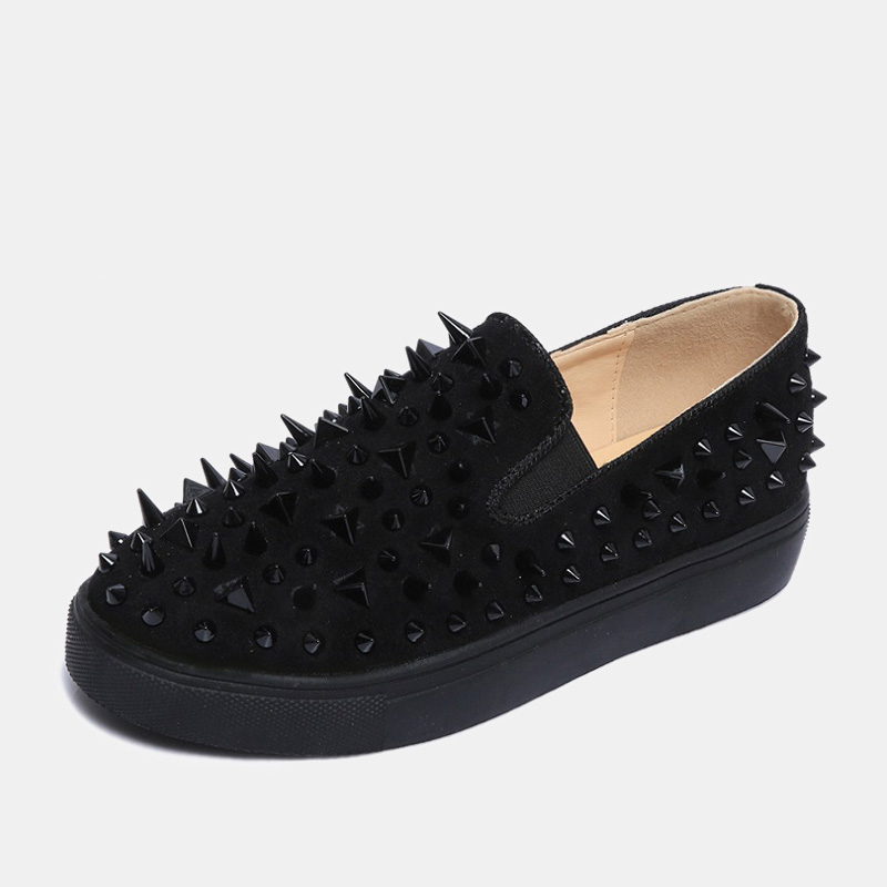 2019 La golden Pisos Mocasines Zapatos Gótico Picos Black Metálico Moda Tachonado Lujo Mujeres Calle red Remaches Estilo De Las Unisex Brillo ZHwrqFZ