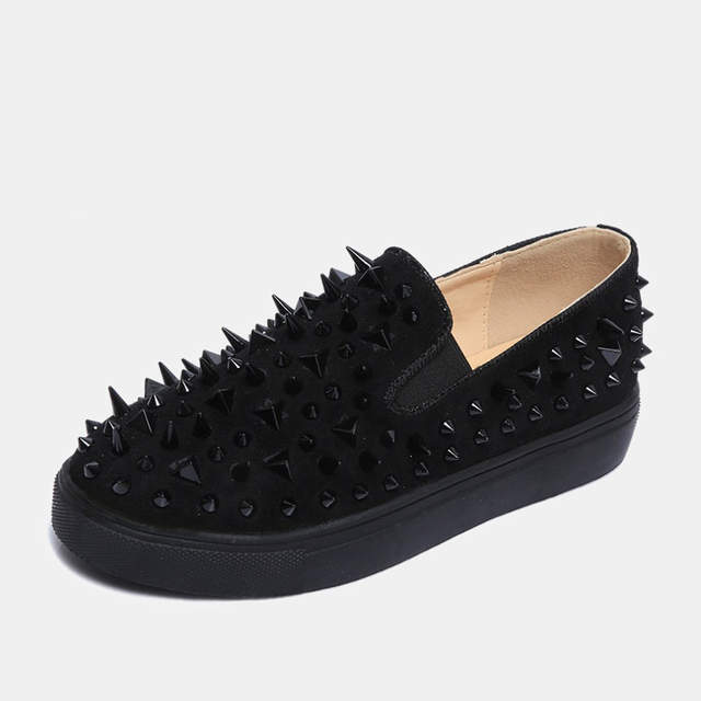 dbd00462cc US $24.84 31% OFF|2019 new flat loafers unisex slip on luxury glitter  metallic rivets spikes studded Gothic street style young casual shoes  woman-in ...