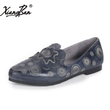 Xiangban Retro elegance pointed women shoes flat shallow mouth handmade leather flats women