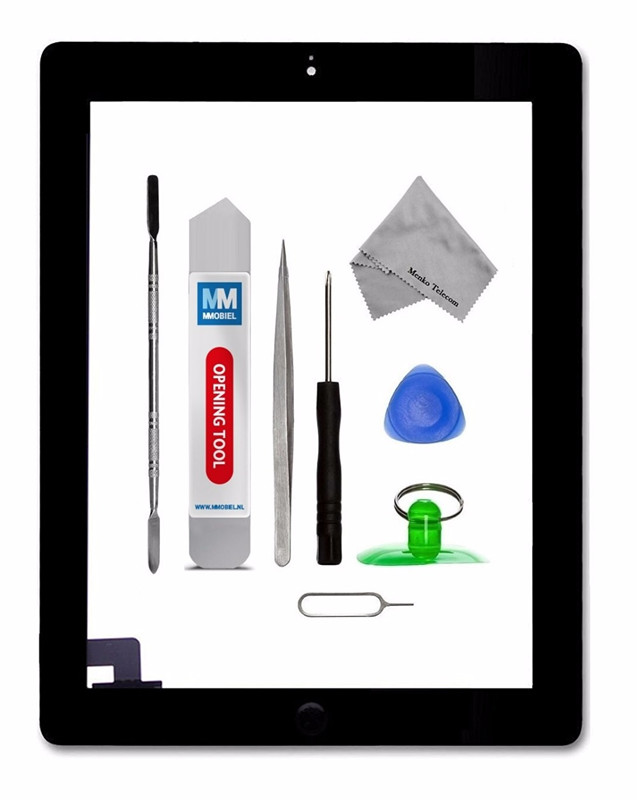 For IPAD 2 whiteblack Digitizer Touch Screen Front Display Glass Assembly - Includes Home Button and flex + Camera Holder