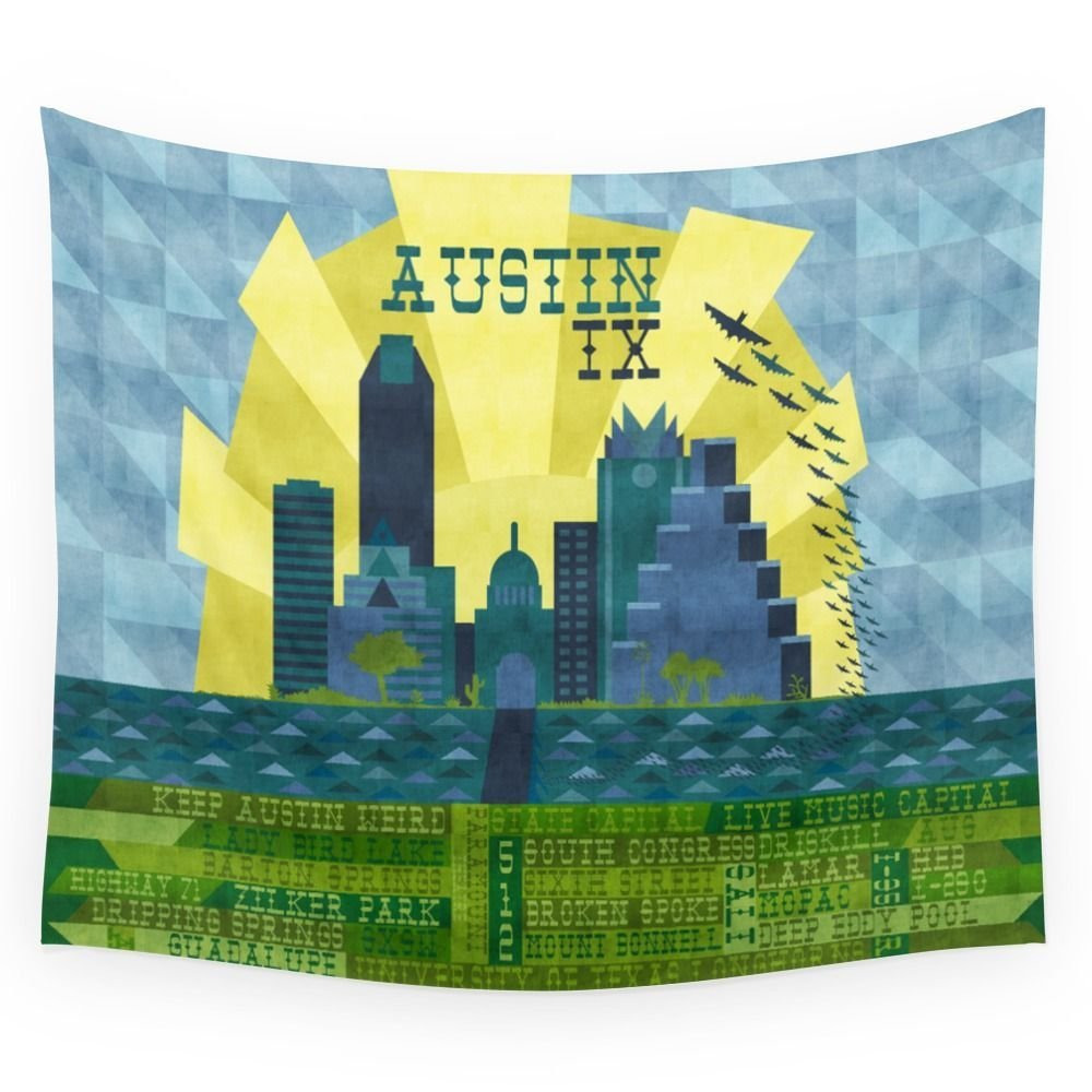I Love Austin, TX Wall Hanging Tapestry Multi size Polyester Beach ...