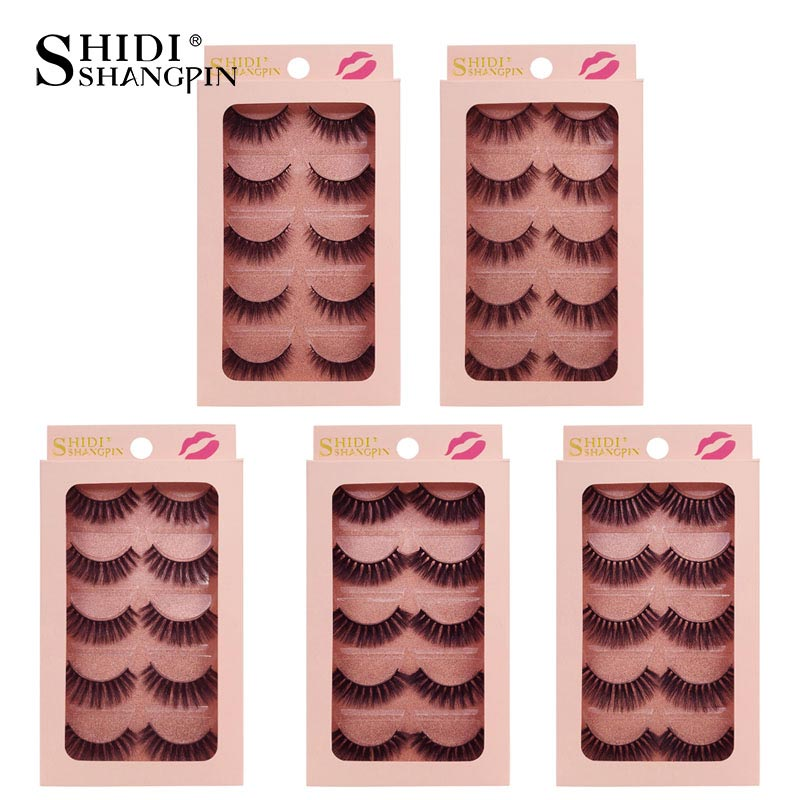 ba5162f8f43 SHIDISHANGPIN 5 pairs 3d mink eyelashes natrual makeup full strip lashes  fluffy false mink lashes thick