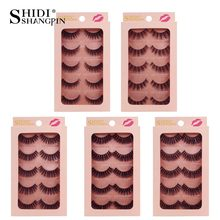SHIDISHANGPIN 5 pairs 3d mink eyelashes natrual makeup full strip lashes fluffy false thick
