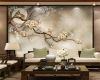 Custom Wallpaper Modern Home Decoration Mural Hand Painted Flowers And Birds Trees Living Room TV Wall
