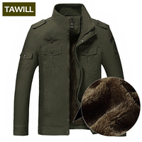 TAWILL Winter Fleece Jacket Men Jean Military 6XL Army Soldier Cotton Air Force One Brand Clothing