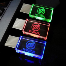 Top Quality  Pen drive 64GB, Creative Crystal 3 colors LED for Buick car Logo 4GB 8GB 16GB 32GB USB Flash 2.0 Memory Drive Stick