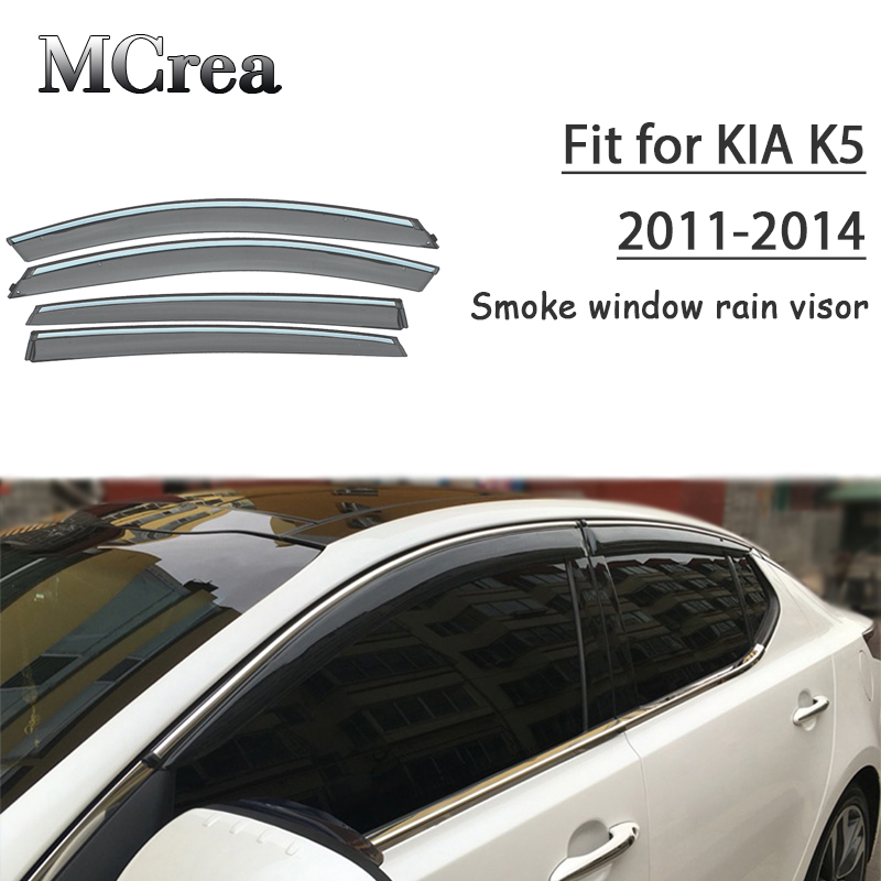 MCrea 4pcs ABS Car Smoke Window Sun Rain Visor Deflector Guard For Kia K5 Optima 2011