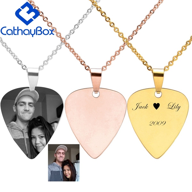 0e9468d8f3aa Personalized Stainless Steel Guitar Pick Blank Dog Tag Engrave Photo Name  Charm Key Chain Pendant W/ SS Chain 50CM