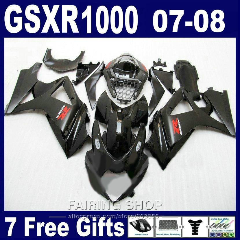 Горячая продажа мото обтекатели части для Suzuki GSXR 1000 07 08 черный обтекатель комплект для GSXR1000 2007 2008 PG87