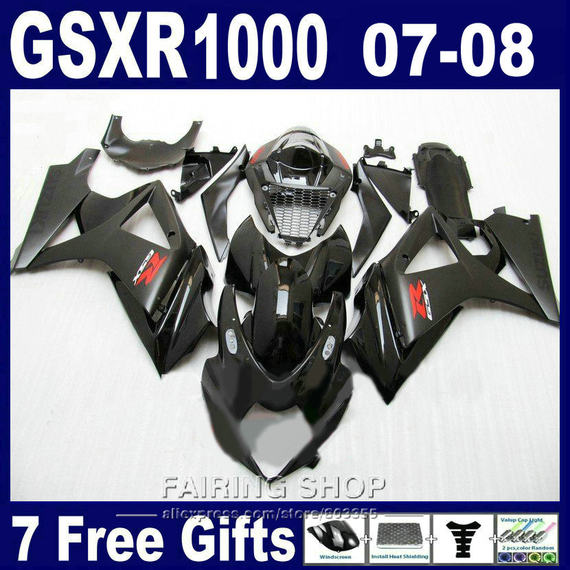 Vendita calda moto ricambi carenature per suzuki gsxr 1000 07 08 nero kit carenatura gsxr1000 2007 2008 pg87