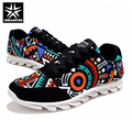 URBANFIND Men Fashion Printed Casual Shoes EU Size 39-44 Graffiti Pattern Man Canvas Lace-up Shoes All Season Footwear