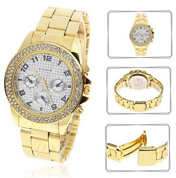 Famous Fashion Brand Women Luxury Diamond Watches Japan Movt Ladies Rhinestones Wristwatches Gold Plated Women Dress