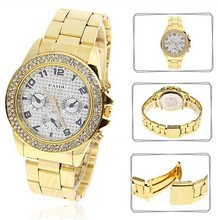 Well-known Trend Model Girls Luxurious Diamond Watches Japan Movt Girls Rhinestones Wristwatches Gold Plated Girls Gown Watches