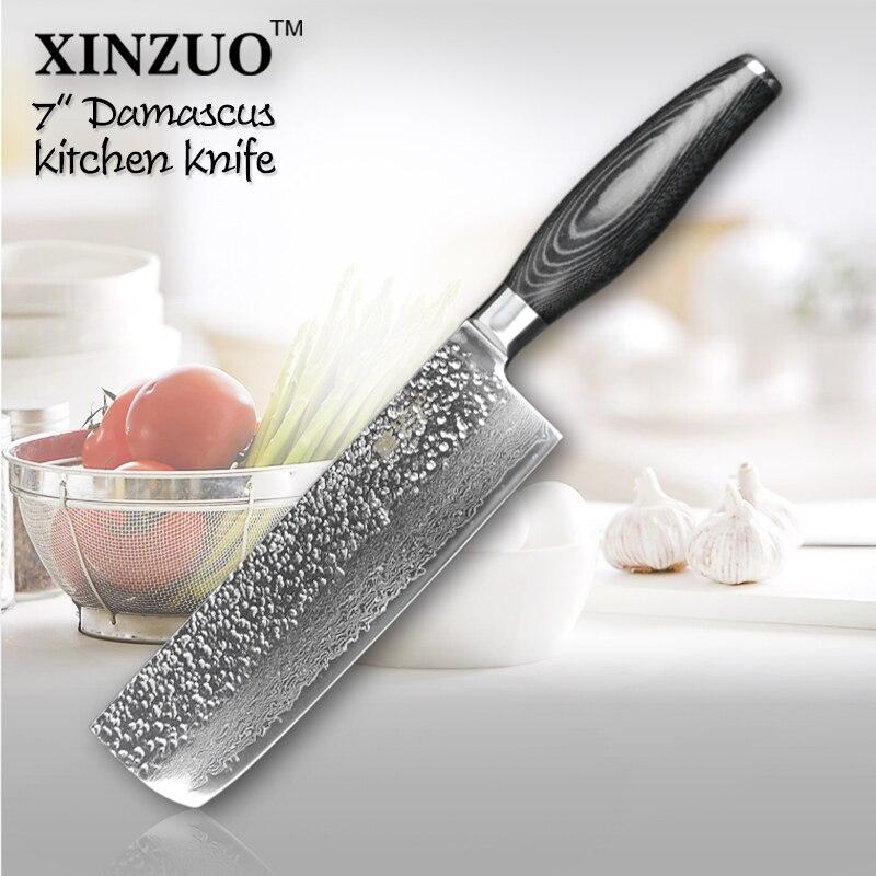 XINZUO 7 inch chef font b knife b font Japanese 73 layers Damascus kitchen font b