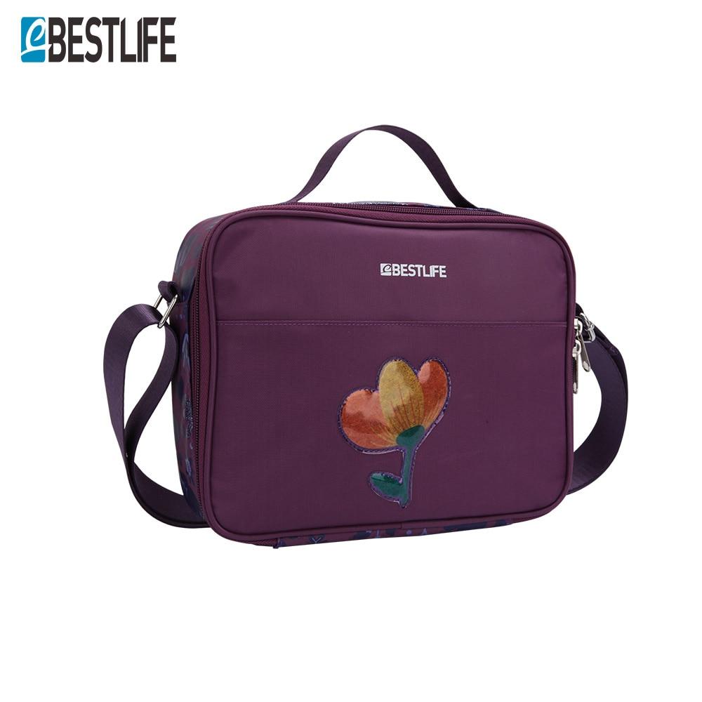 BESTLIFE Lunch Bags For Teenage Girl Kids Floral Print Student Bag Children's Handbag Red Purple