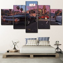 Wall Art Canvas HD Print Painting Decor Framework 5 Piece Game Grand Theft Auto V Pictures Living Room Modern Home Artwork