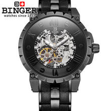 2016 New Binger Fashion skeleton watch Round Mechanical male mechanical water resistant Back Hollow watches men gift wristwatch