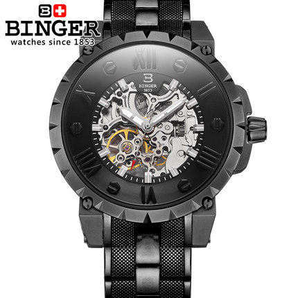2016 New Binger Fashion skeleton watch Round Mechanical male mechanical water resistant Back Hollow watches men