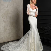 CLOUDS IMPRESSION 2019 Wedding Dresses Sheer Long Sleeves