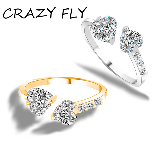 2018 New Double Heart Zircon Fashion Couple Marriage Ring For Women
