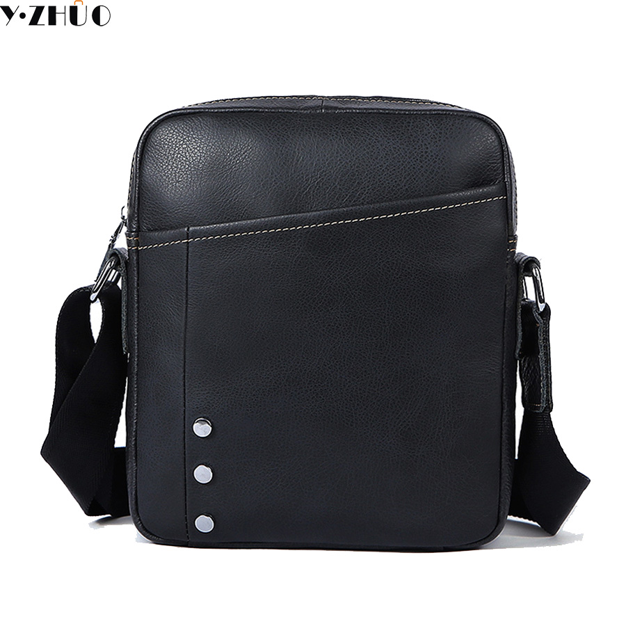 Y ZHUO first layer of cow leather men messenger bag small single shoulder bag genuine leather men crossbody bag free shipping цена
