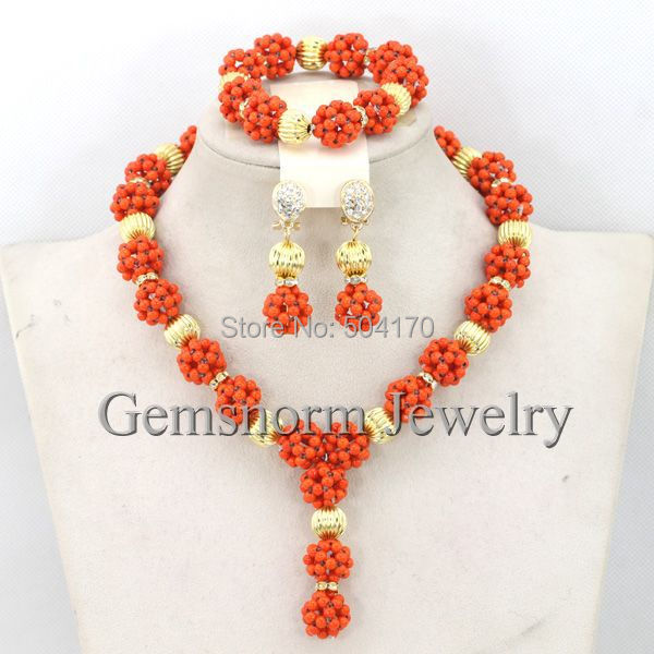 African Fashion Jewelry Sets Girl/Lady Party Beads Necklace Jewelry Set Gift Jewelry Set 5 Colors Free Shipping GS934