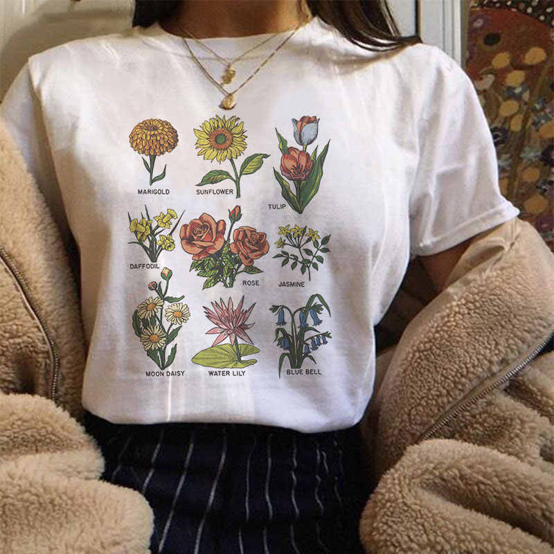 Harajuku Vintage Wildflower Graphic Tshirt Women Kawaii Cartoon Vegan Floral Print Tee Shirt Femme Fashion Grunge Aesthetic Tops