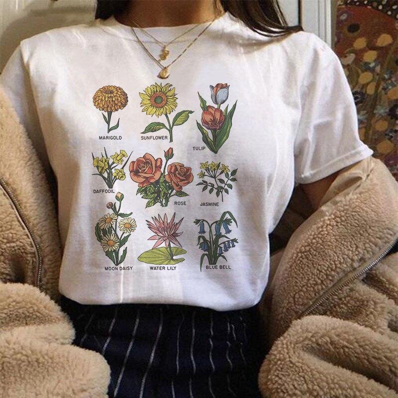 Harajuku Vintage Wildflower Graphic Tshirt Women Kawaii Cartoon Vegan Floral Print Tee Shirt Femme Fashion Grunge Aesthetic Tops