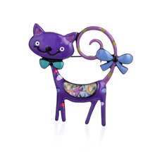 Cring Coco Purple Cat Brooches for Children Boys Girls Gift Women Alloy Fashion Jewelry Brooch Lapel Pin Enamel Pins Woman