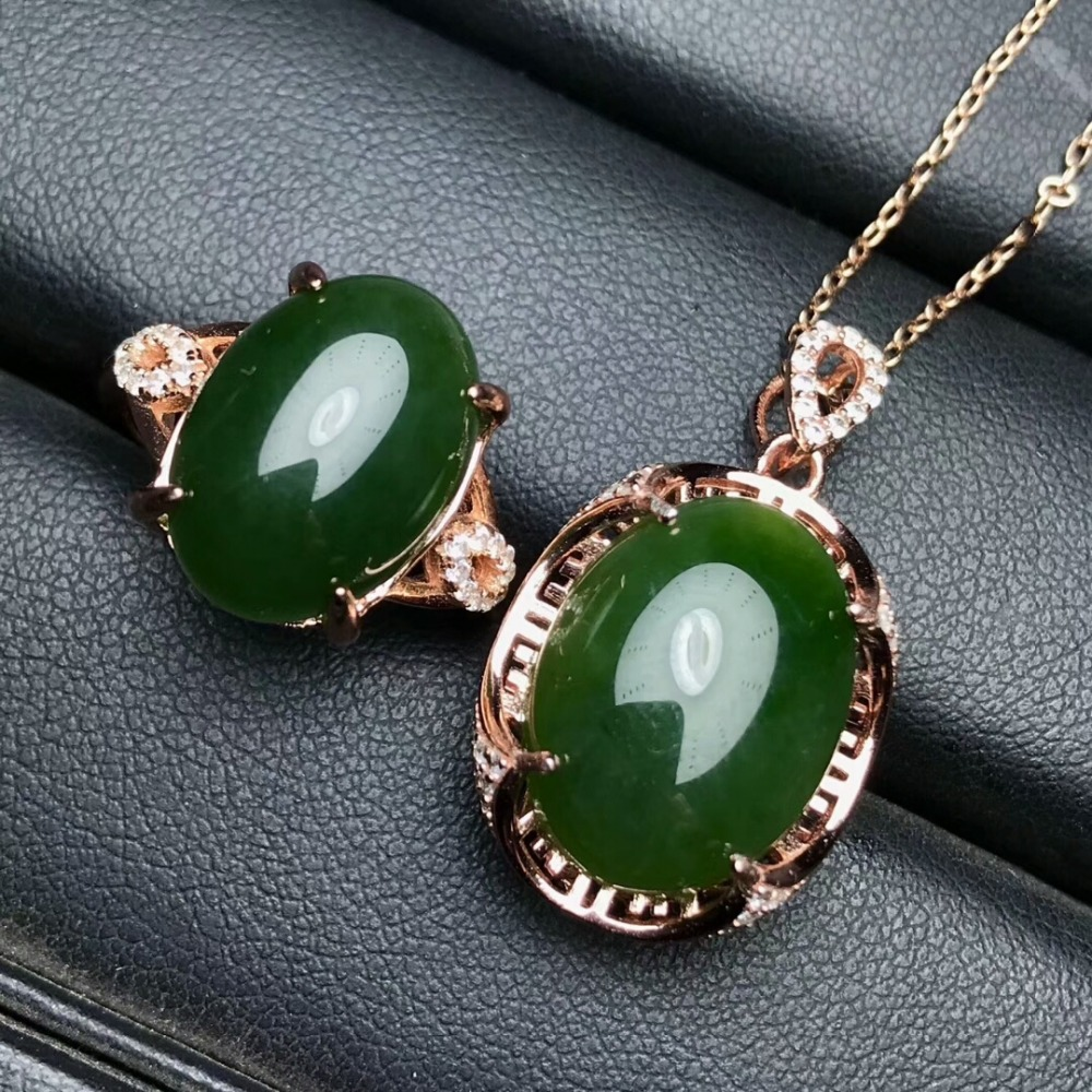 KJJEAXCMY Boutique jewels 925 pure silver inlaid natural and Tian jade jade female pendant pendant ring 2 sets of gold. - 2