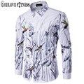 Primavera nueva moda flores aves imprimir hombres camiseta marca clothing solapa camisa masculina de manga larga camisas para hombre camisas casuales