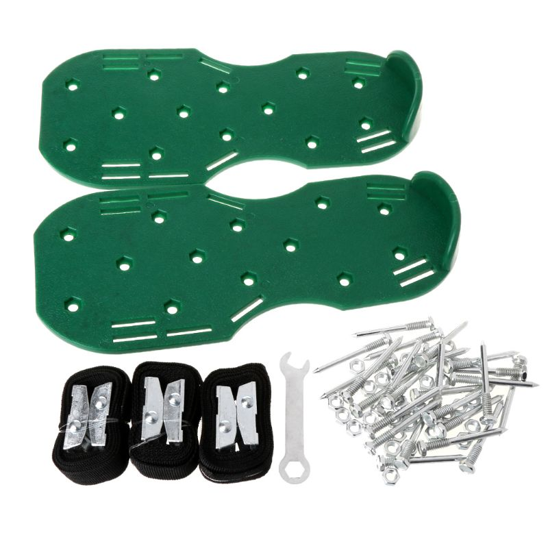 A Pair Lawn Plastic Aerator Shoes Sandals Grass Spikes Nail Cultivator Yard Garden Tool