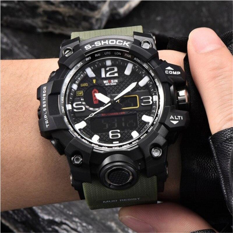 f5b1c1dcd0d Homens Relógios de Luxo De marca WISSIN S Choque Relógio Do Esporte Ao Ar  Livre Homem LED Relógio Digital Militar Do Exército Relógio de Quartzo  Relogio ...
