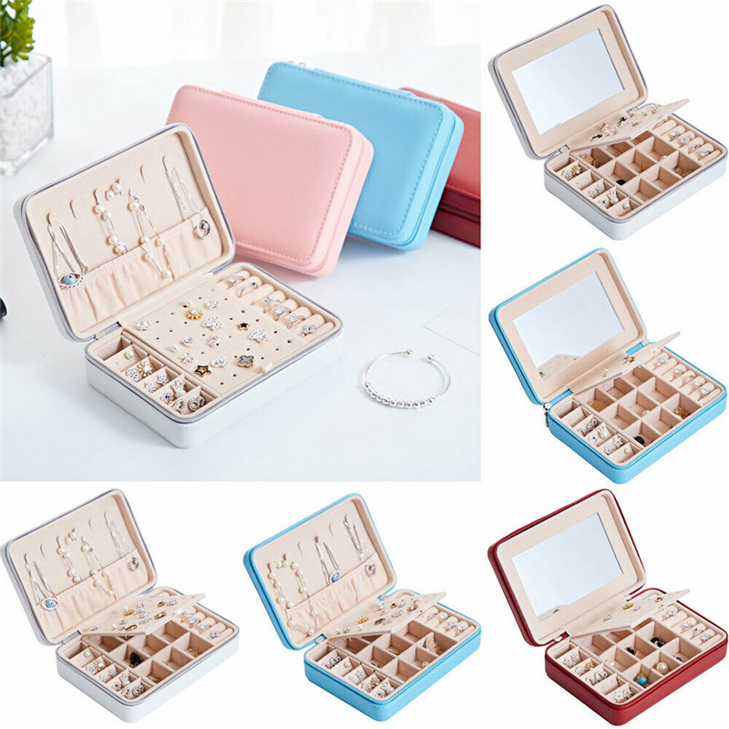 NoEnName Travel Ring Necklace Bracelet Jewelry Box Organizer Leather Jewellery Ornaments Case Storage Portable