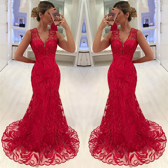 Alexzendra Red Mermaid   Prom     Dresses   2019 V Neck Lace Formal Evening   Dresses   Party   Dress
