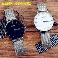 Роскошные фирменные Женская мода Повседневная металлический ремешок 32 мм DW типа часы наивысшего качества женские серебряные цвета розовог...