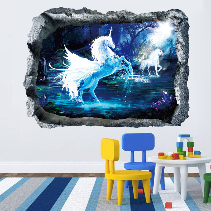 3d White Unicorn Wall Sticker Pvc Home Sofa Backdrop Decal Decorative Mural Art Window Ceiling Diy Poster For Kids Bedroom New