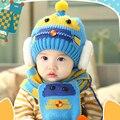 2 peças/set lenço do chapéu do bebê cap gorro de malha de inverno gorro quente chapéus para crianças neck warmer fotografia adereços